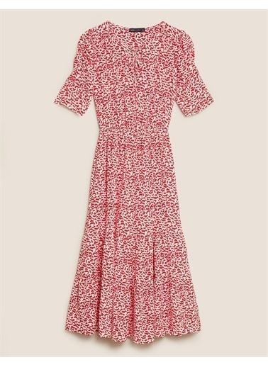 Marks & Spencer Desenli Elbise Kırmızı